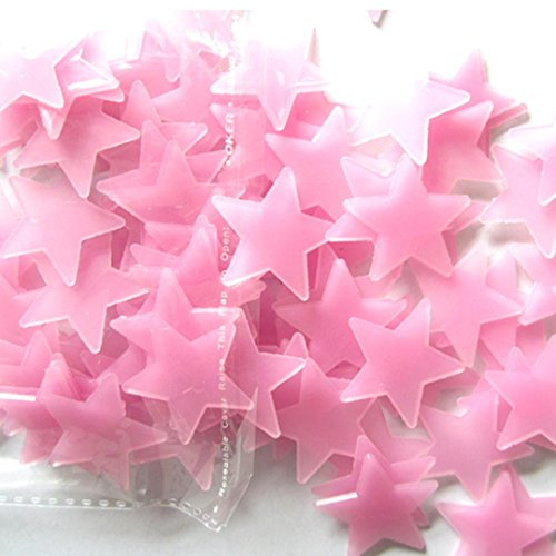 Ussore Wall Stickers 100PC Fluorescent Glow In The Dark Stars Bedroom Sitting Room Background For Baby Child Removable Decals Mural Home Room Decor (Pink)