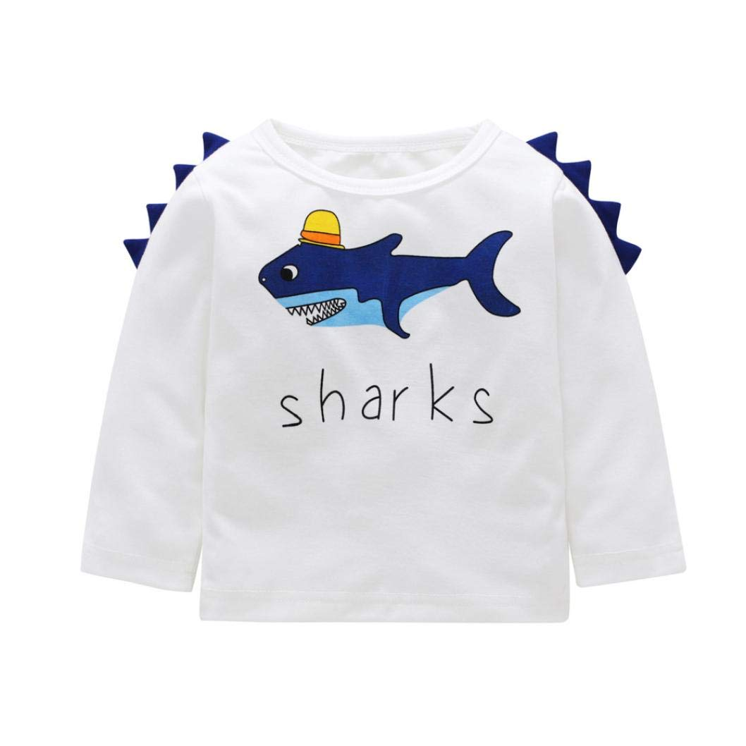 Matoen Toddler Kids Baby Boy Girl Letter Shark Cotton Long Sleeve T-Shirt Tops