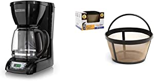 BLACK+DECKER DLX1050B 12-cupProgrammable Coffee Maker with glass carafe, Black & GOLDTONE Reusable 8-12 Cup Basket Coffee Filter fits Mr. Coffee Makers and Brewers, BPA Free.