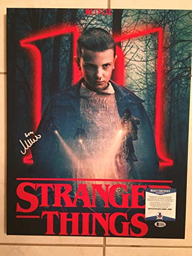 - Millie Bobby Brown Autographed Signed Stranger Things 16X20 Mounted Canvas Beckett Wj16668