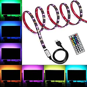 Lahoku LED TV Blacklights Kit USB LED TV Strip Light 5050 RGB LED Lighting Strip with 44-Key Remote Controller for 45in~70in HDTV PC Monitor Home Theater (Black Version)