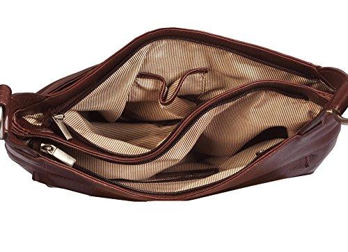 Vilenca Holland 70109 Braune Leder Umhängetasche Schultertasche Damentasche Ipadtasche Notebook Tasche Maße: 32cmx25cmx9cm (LXHXB)