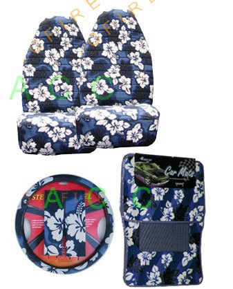 9 Piece Hawaiian Auto Interior Gift Set - Blue Hawaii Hibiscus Floral print: 2 Front Bucket Seat Cover, Steering Wheel Cover, 2 Shoulder Harness Pressure Relief Cover, 2 Front Floor Mat and 2 Rear Floor Mat - Blue