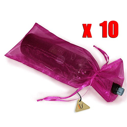10 x Sheer Organza Wine Bottle Gift Bags Weddings Holidays Parties Hot Pink