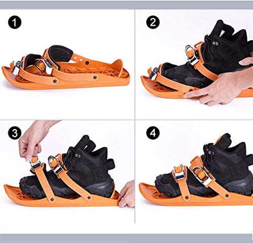 Lucakuins Outdoor Skiing Mini Sled Mini Snowboard Sled Shoes Anti-Slip Foot Panels Snow Board Ski Boots Outdoor Skiing Winter Sports Equipment(Black)
