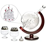 Denizli Spirits 35 Oz Handmade Etched Globe Decanter Set with Wooden Stand and Glass Ship inside, for Wine, Whiskey, Brandy, Tequila, Bourbon, Scotch, Rum and Liquor (with Glasses and Funnel)