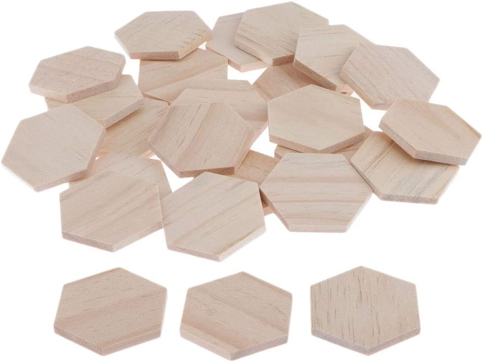 Blank Wooden Pieces for Art Classes Wedding Planning and Home Decoration 25 Pack Unfinished Wood Hexagon Cutout Tile Pieces for DIY Crafts