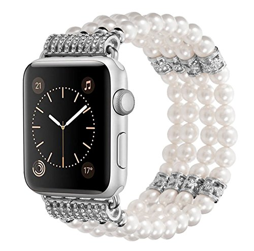Kaing Compatible for Apple Watch Band Series 4 38mm/42mm iWatch Band Women Fashionable Faux Pearl Bracelet Beaded for Apple Watch Series 3 Series 2 Series 1 Version (White, ()