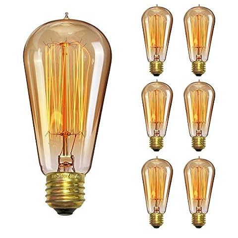 Vintage Light Bulb 60W, Elfeland Antique Style Edison Bulb ST58, Squirrel Cage Filament Teardrop Top, 337 Lumens Dimmable Incandescent Light Bulb, E26/E27 Medium Base (6 - 337 Lamp