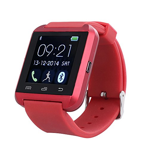 Flylinktech® U8 Plus whatsapp smartwatch Reloj inteligente táctil compatible con Android e iOS Bluetooth 4.0 (rojo): Amazon.es: Deportes y aire libre