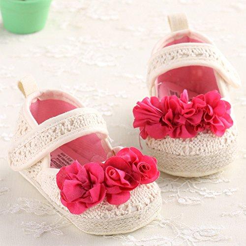 Bebé Zapatos Suela Blanda de Punto de Ganchillo Primeros Pasos Beige