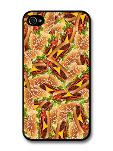 Cool Funny Food Pattern Collage of Cheese Burgers Grunge Goth case for iPhone 4 4S