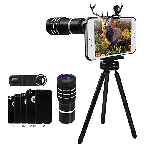 10X Telephoto Lens, Evershop Zoom Lens Phone Camera Lens Kit with Mini Tripod + Phone Cases for iPhone 5/5S/SE/ 6 6S/ 6 Plus 6S Plus 7/7 Plus (Black)