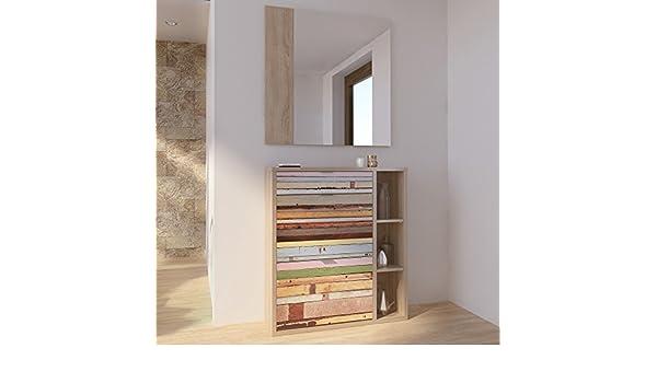 Mueble recibidor zapatero 1 cajón + 2 trampones y espejo ...