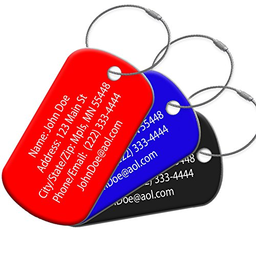 High Visibility Durable Anodized Aluminum 2 Per Pack Customized Travel ID Tag - Luggage Tag - Golf Bag ID - Personalized ID Travel Tag - Imprinted Luggage Tag - Luggage (Black)
