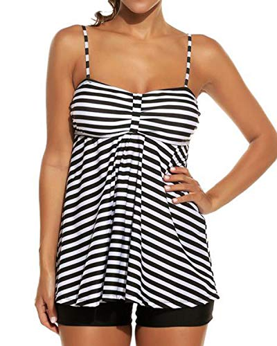 LAPAYA Women's Tankini Swimsuit Set 2 Pieces Striped Tank Top Boyshorts Bottom Bathing Suit, Black White, XXX-Large