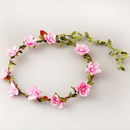 baa4b636e23 Simple Festival Artificial Silk Peach Cherry Blossom Flowers Berries  Headband Halo Rustic Floral Head Crown Wreath