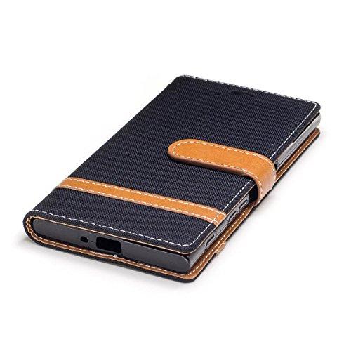 Sony Xperia XZ / XZS Funda Azul oscuro, MEETER Libro PU Cuero Case Con Flip case cover, Cierre Magnético, Función de Soporte, Tarjeta y efectivo titular, Billetera con Tapa para Sony Xperia XZ / XZS,  Negro
