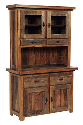 Mountain Woods Furniture The Wyoming Collection Buffet/Hutch, Wood (Barnwood Hutch)