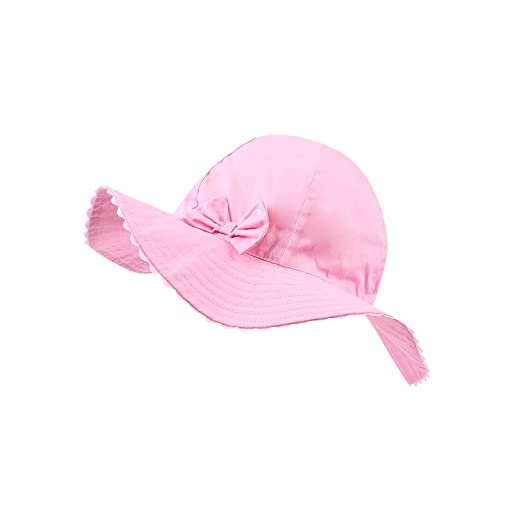 515ee989e JANGANNSA Baby Girls Sun Hat Infant Uv Protective Cap Kids Wide Wavy Brim  Bucket Hat
