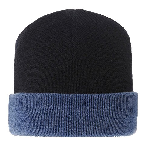 Womens 100% Cashmere Hat 6 Plys Bicolor Colors - Blue Navy by LES POULETTES