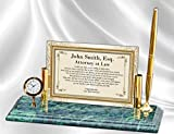 Personalized Poetry Clock Gift for Lawyer or Law School Graduation for Attorney or Passing the Bar present Mini Desk Table Clock Marble Brass Pen Set School Congratulation Present