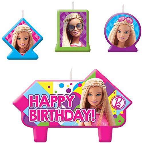 [Barbie Sparkle Birthday Candle Set Assorted Size Party Decoration (4 Pack), Multi Color, .] (Halloween Costumes Violet)