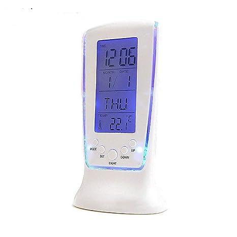 LAMEIDA Despertador LED Digital Lámpara Alarma Despertador de Escritorio con Termómetro y Calendario Azul Lámpara de ...
