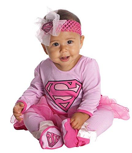 UHC Supergirl Onesie Tutu Cape Booties Super Hero Infant Child Halloween Costume, 6-12M (Kids Supergirl Tutu Costume)