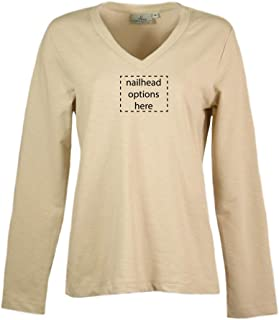 product image for Akwa Made in USA Women's Slub Terry V-Neck Long Sleeve Pullover with Nailhead Accents