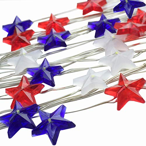 ADAINA 2 Pack Star Shaped,Red White Blue,American Flag,Battery Operated Indoor String Lights,Fairy Lighting 4th for July, Independence Day Decor,Christmas Eve Home Patriotic,Memorial Day(2M 20 LEDs)