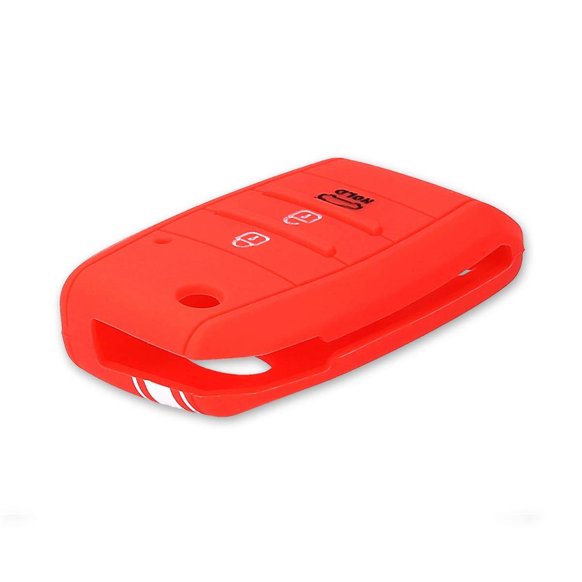 Silicone Protective Key Fob Cover for Kia 3-4 Button Car Key White//Dark Pink kwmobile Car Key Cover for Kia