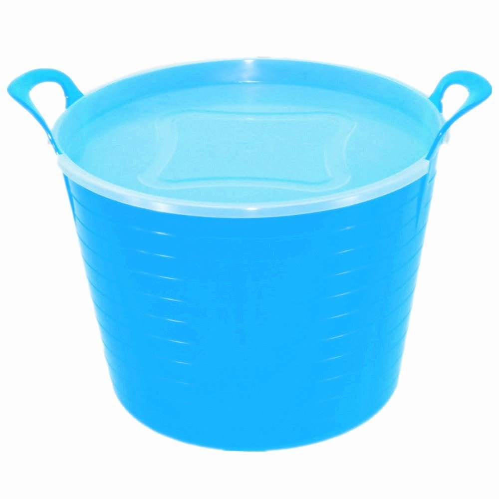 42L BLUE FLEXI TUB WITH LID, TRUG, FEEDING BUCKET, WATER BUCKET, GARDEN, FLEXIBLE KETO PLASTICS