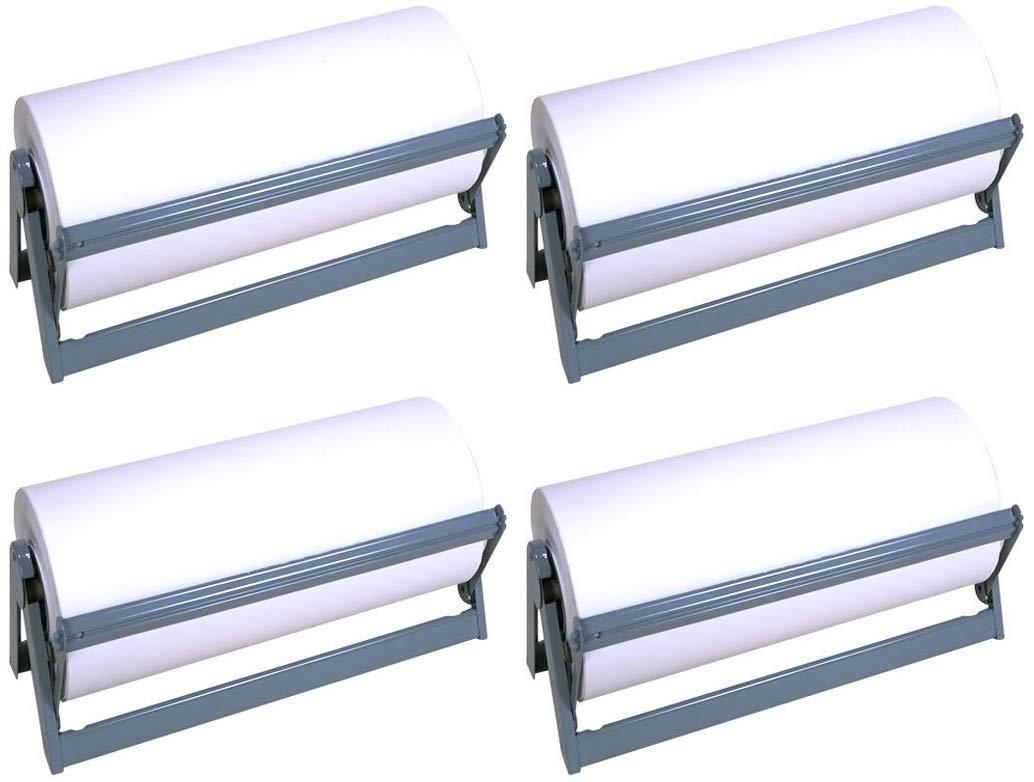 Bulman Heavy Duty Steel Paper Cutter Dispenser, 24'' Wide with Rubber Feet and Long Lasting Grey Powder Coated Finish (Fоur Расk) by Bulman
