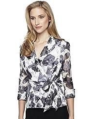 Alex Evenings Womens 3/4 Sleeve Side Tie Blouse