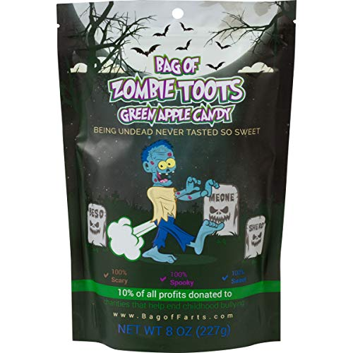 Little Stinker Zombie Candy Funny All Ages Unique Halloween Treat Friends, Mom, Dad, Girl, Boy Spooky Gift Stocking Stuffer While Elephant Christmas (Zombie Toots Green Apple Candy)