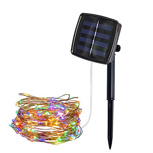 Kanzd 200Led Outdoor Solar Powered Copper Wire Light String Fairy Party Decor (Multicolor)