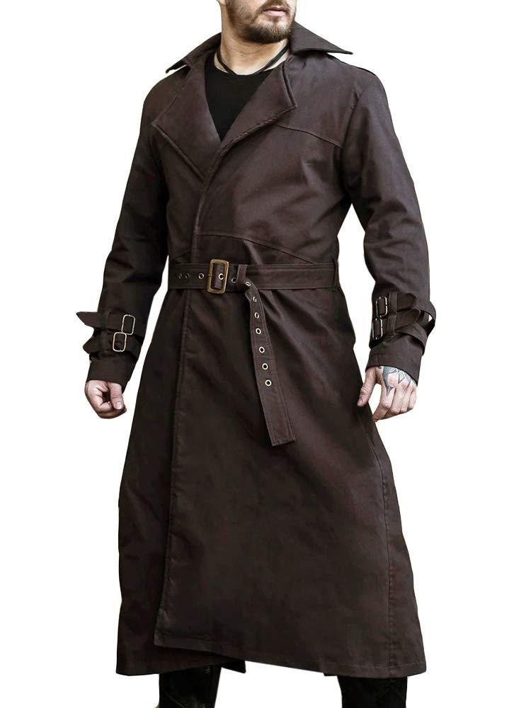 Pengfei Mens Trench Coat Winter Fall Long Jacket Knee Length Overcoat Brown by Pengfei
