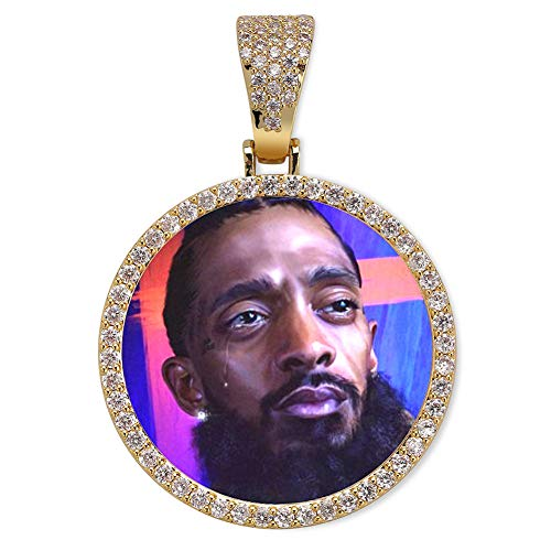 GUCY Personalized Custom Photo Memory Pendants Charm Medallions Solid Necklace with Tennis Chain Men's Hip Hop Fashion Jewelry