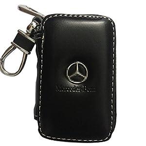 SHANG MEDING Black Premium Leather Car Key Chain Coin Holder Zipper Case Remote Wallet Bag Cover (Mercedes-Benz)