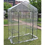 Small 3-tier Walk in Greenhouse with 6 Shelves and Clear PVC Cover
