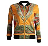 Comaba Womens Outwear Long-Sleeve College Jacket Floral Zip-up African AS1 XS