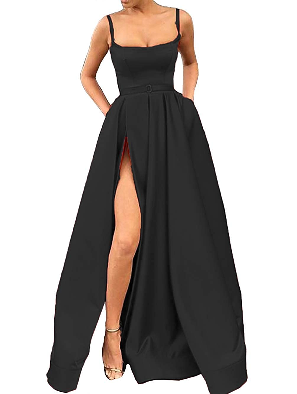 Black XSWPL Sexy Side Split Prom Dresses Long Spaghetti Straps Satin Evening Dress with Pockets