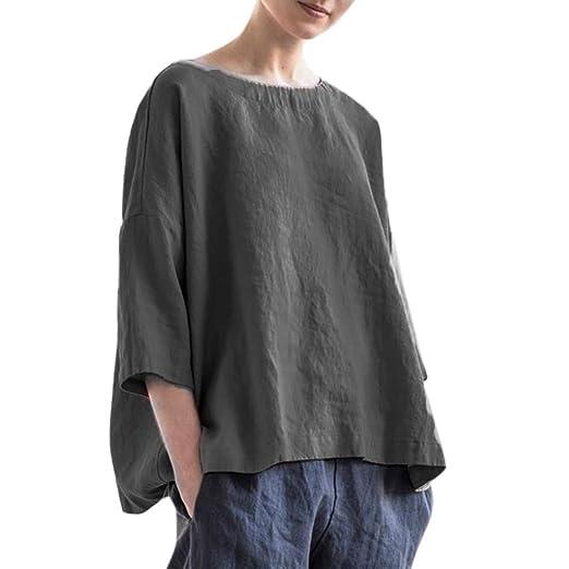 8bf851aef2e 2019 Cotton Linen Blouses,NEWONESUN Women's Summer Half Sleeve Round Neck  Shirts Solid Casual Tops