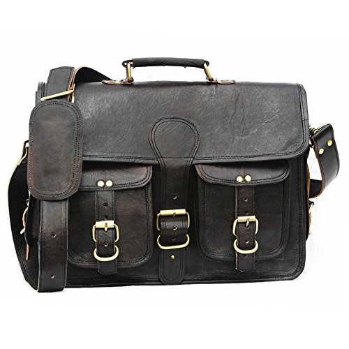 E-Tailor 15 Inch Pure Leather Black Laptop Messenger Bag | Office Bag | College Bag | Briefcase by E-Tailor