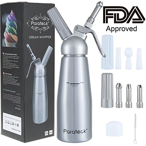Parateck Whipped Cream Dispenser 1 Pint Cream Whipper 6 Decoration Nozzles 2 Cream Charger Holders Whipping Canister Use Standard 8 Gram N2O Cartridges (Not Include)