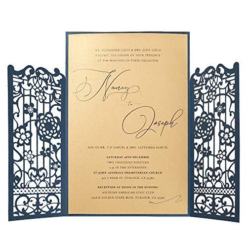 (Doris Home Laser Cut Navy Blue Invitation with RSVP cards Bridal, Birthday Invitation Wedding Dinner Invites, Engagement Reception Anniversary, Housewarming, Graduation, Sweet 16, 50pcs)