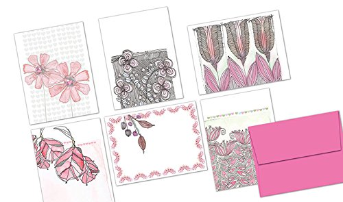 Note Cards - Blank Cards - Pink Envelopes Included (Pink Flower Note Card)
