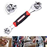 KOBWA 48 Tools in One Spanner Socket Wrench,360°Rotation Universal Home Bike Car Repair Cordless Ratchet Wrench with Spline Bolts, 6-Point, Torx, Square Damaged Bolts and Any Size Standard Or Metric …