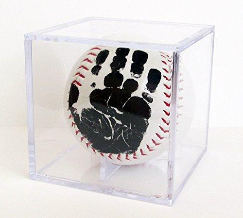 Little MVPs Baby's First Handprint Baseball Keepsake with Clear Display Cube